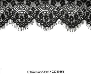 black lace on white