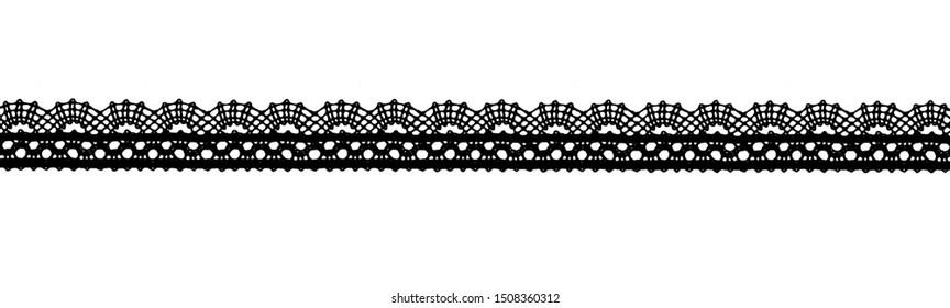 Black lace ribbon isolated shot