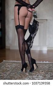 Black lace sexy lady seducing