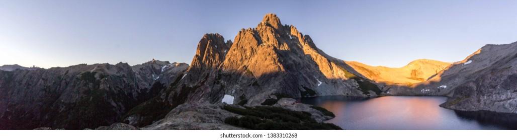 "Black lagoon (""laguna Negra"") and Italy hut (""refugio Italia"") in Nahuel Huapi National Park near Bariloche, Patagonia Argentina"