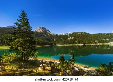 Black Lake (Crno Jezero) in Durmitor - Montenegro - nature travel background