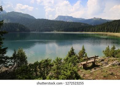 Black Lake in Durmitor, nature travel background, Montenegro, Europe.