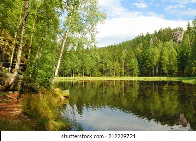 Black lake surrounded by green forest trees