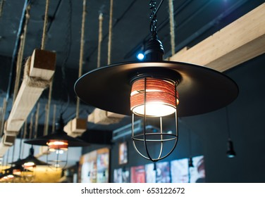 black lamp on the ceiling