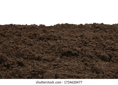 Black land for plant isolated on white background. Top view.