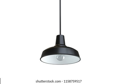 black lantern with light bulb isolated on white background