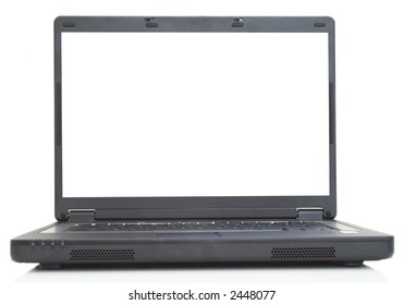black laptop with blank screen on white, space for messages