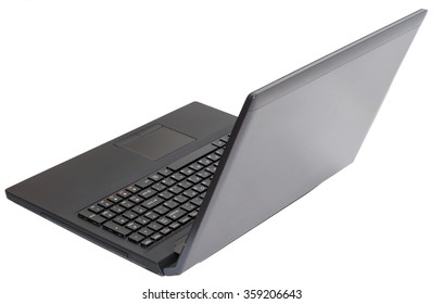 Black laptop on white