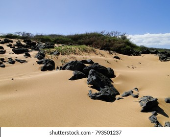 Black lava rocks line the dunes along Polihua Beach.
