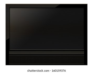 Black LCD tv screen hanging on a wall .  (with clipping work path)