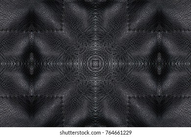 black leather abstract background. kaleidoscope texture