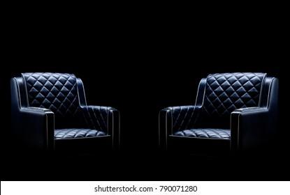 Black leather armchair, dark background