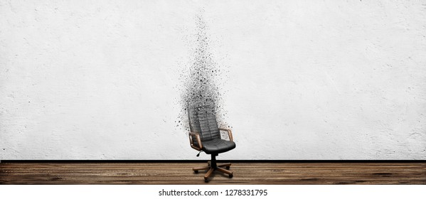 Black leather armchair disappear in room. Business fail position concept background
