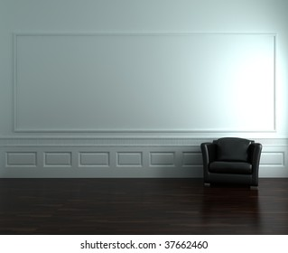 Black leather armchair to  face a blank white wall - with parquet - right side of view
