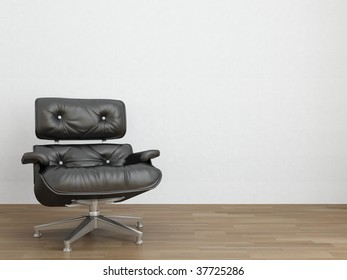 Black Leather Armchair to face a blank white wall
