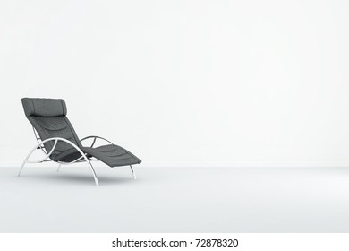 Black leather Armchair to face a blank wall, cgi