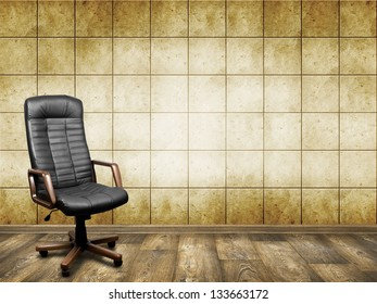 Black leather armchair in room. Business background