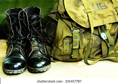 Black leather army boots and Army bag soldier