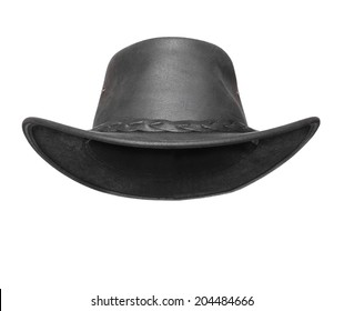 Black leather australian hat with space for your funny face.
