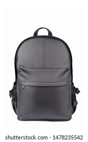 Black leather backpack isolated on white background