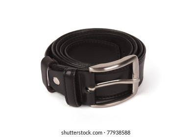 black leather belt with buckle isolated on white