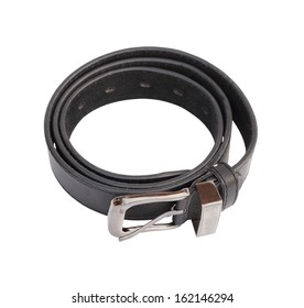 black leather belt isolated on white background (with clipping path)