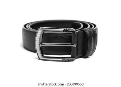 Black leather belt isolated on white background