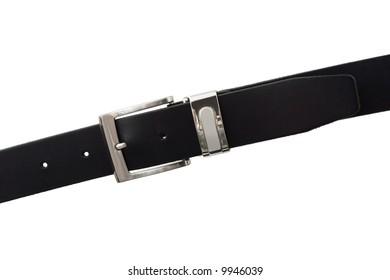 Black leather belt, isolated on white background