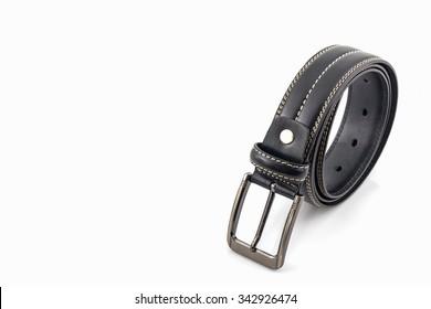 Black leather belt for men on white background.