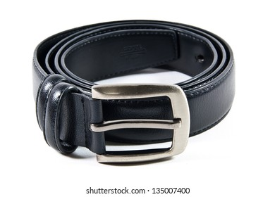 Black leather belt with a metal head.