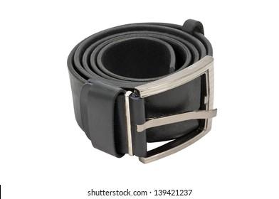 black leather belt on the white background