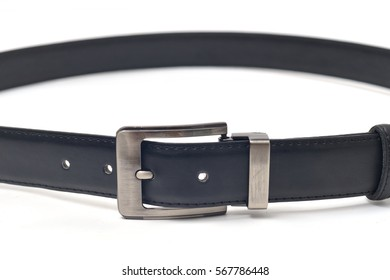 Black leather belt on a white background.