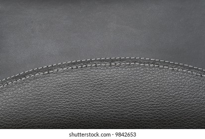 Black leather book cover with white stitching - can be used as a background