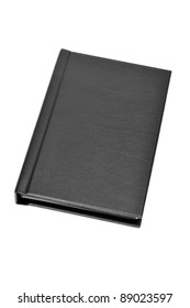 a black leather book on a white background