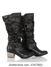 Black leather boots on a white background it is isolated.