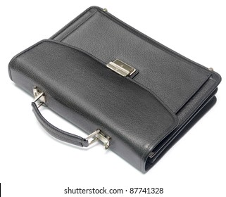 black leather briefcase isolated on white