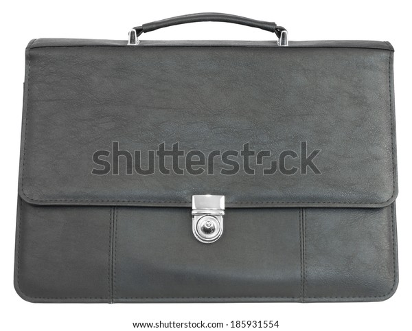 Black leather briefcase. Isolated on white background