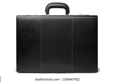 Black leather business briefcase on white background