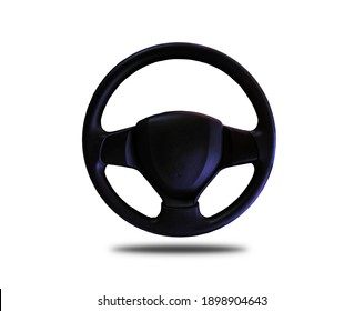 Black leather car steering wheel separated from the background clipping part