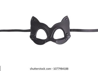 Black leather cat's mask isolated on white background. BDSM sex mask. Mask for fetish
