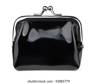 Black leather coin purse isolated on white