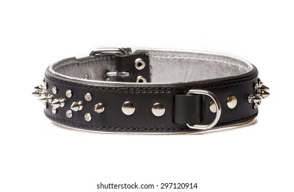 black leather collar for dog isolated on white background