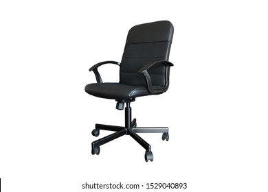 black leather computer chair isolated on white background