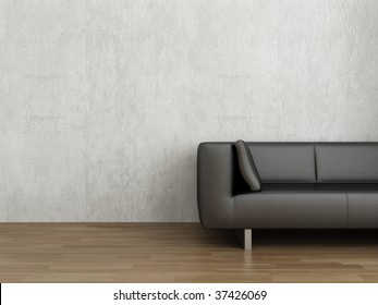 Black Leather Couch to face a blank white wall - with cushion