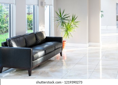 Black leather couch, sofa with green potted palm tree plant in pot with tiles, tiled floor in hall, room, lobby of residential, condo, condominium house, building, complex with bright, natural light
