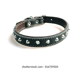 Black leather dog collar isolated on a white background.