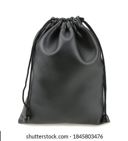 Black leather drawstring pouch isolated on white background.