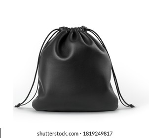 Black leather drawstring pouch mockup isolated on white background.