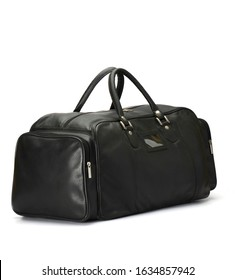 black leather duffle bag isolated on white background