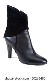 Black leather feminine shoe insulated on white background